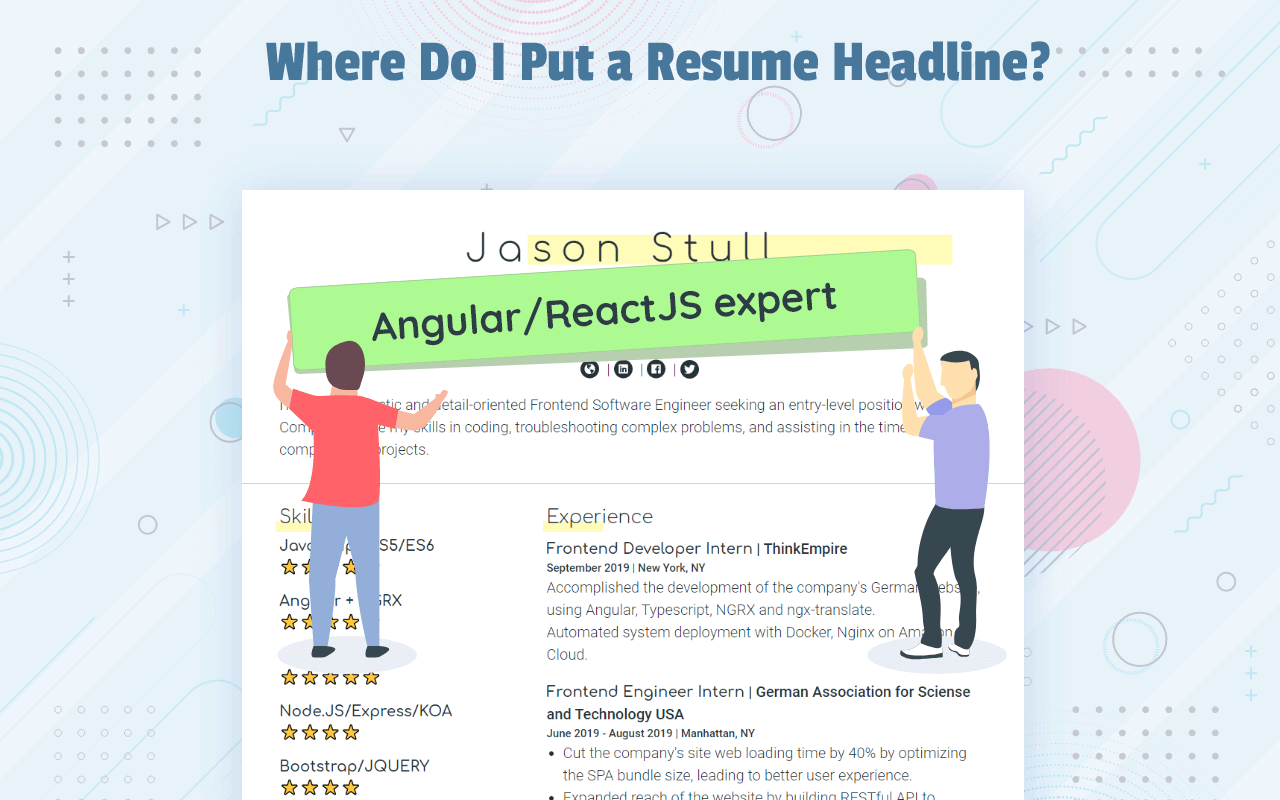 Where to put a resume headline?