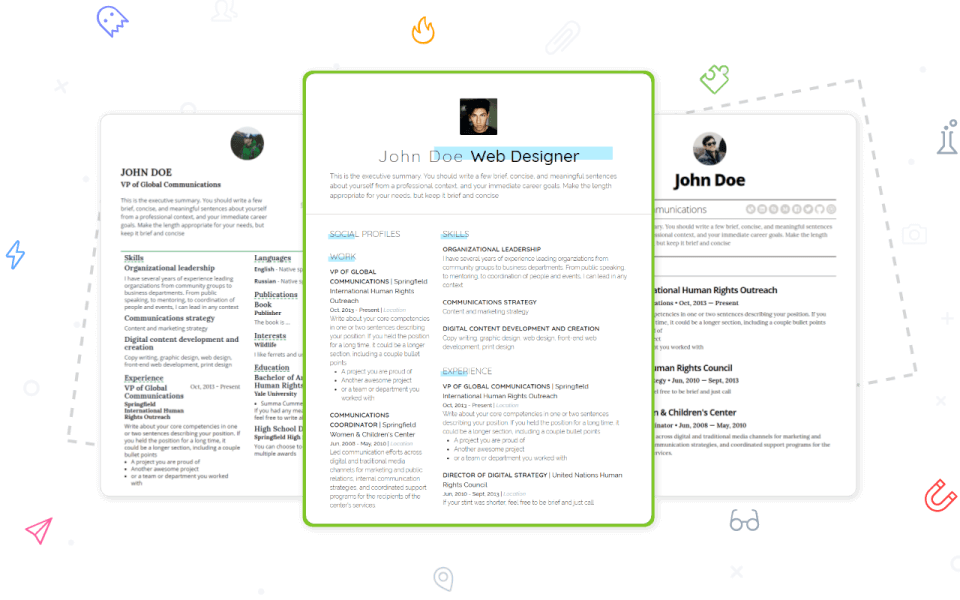 Pick a modern & professional resume template you like