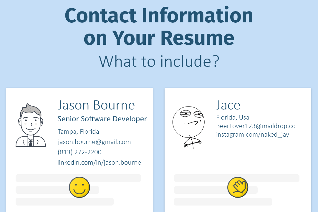 The way you put contact information is crucial for your resume.